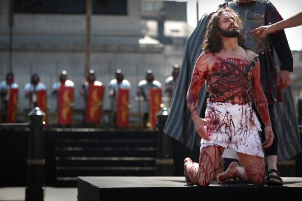 """112807978 actors perform the passion of jesus to crowds in - Why Is Good Friday Called """"Good Friday""""?"""