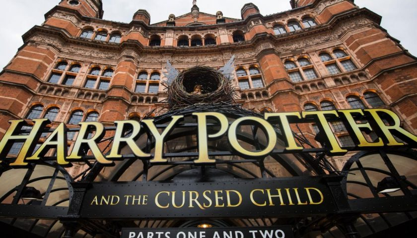 """538818594 general view of the palace theatre following the first 840x480 - Harry Potter and the Cursed Child Casts """"Accio Olivier Awards,"""" Summons a Record Nine Oliviers"""