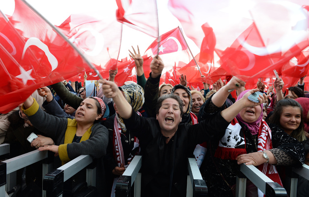 58fcac836790b president erdogan the rags to riches champion that europe hoped would steady turkey - President Erdogan Addresses Supporters - Ankara