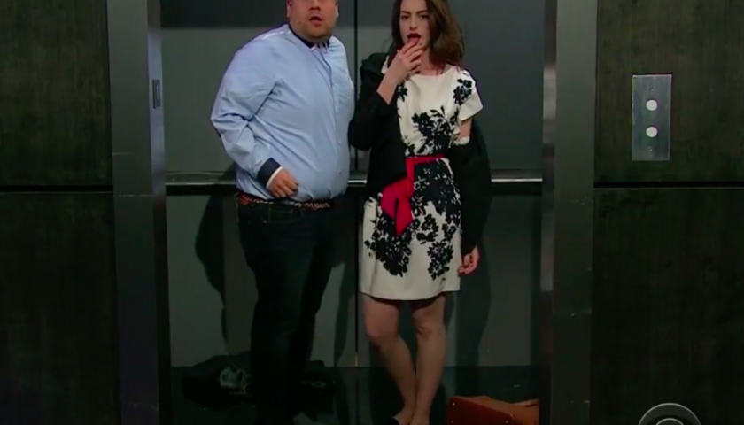 screen shot 20170421 at 10 840x480 - Watch Anne Hathaway and James Corden Sing Their Way Through Romantic Comedy Tropes in a Single Five-Minute Take
