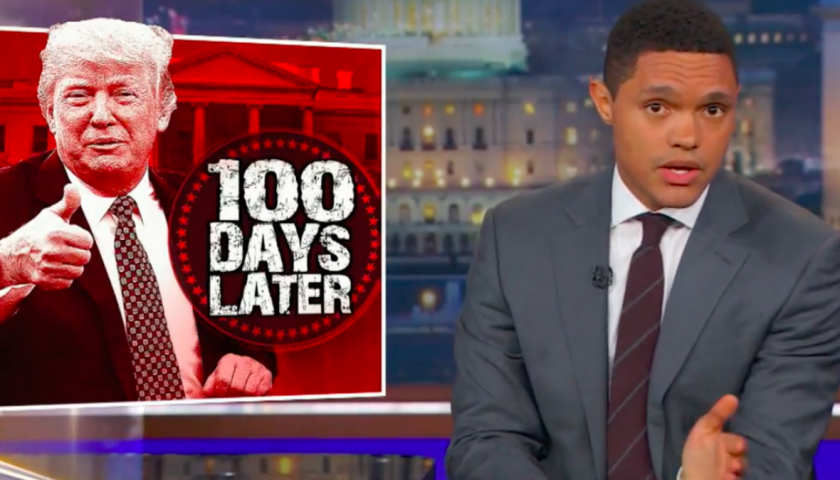 screen shot 20170425 at 9 840x480 - Stephen Colbert and Trevor Noah Know Exactly Why Donald Trump Doesn't Want to Celebrate His First 100 Days