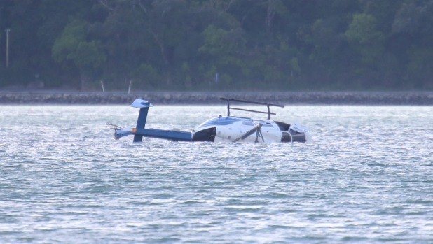 1493695234817 - Helicopter pilot 'feels lucky' to escape unhurt after crashing into harbour north of Wellington